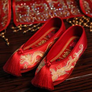 龙凤婚鞋绣花鞋女结婚鞋中式布鞋红色平底汉婚上娇鞋红秀禾新娘鞋价格