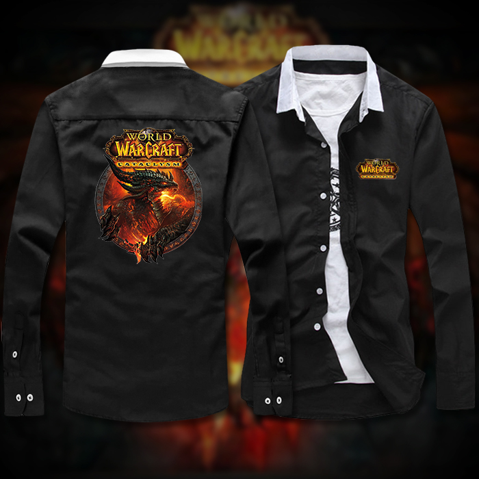 World of Warcraft cataclysm wings of death game spring and autumn shirt long sleeve t-shirt mens shirt