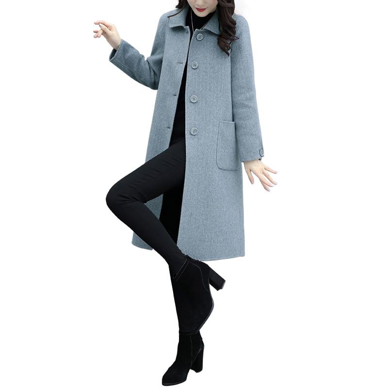 毛呢外套女中长款2019春秋季新款女装韩版宽松显瘦呢子赫本大衣潮