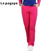 La Pagayo冬季胖mm加大长裤子宽松女士针织休闲裤A5P2330B