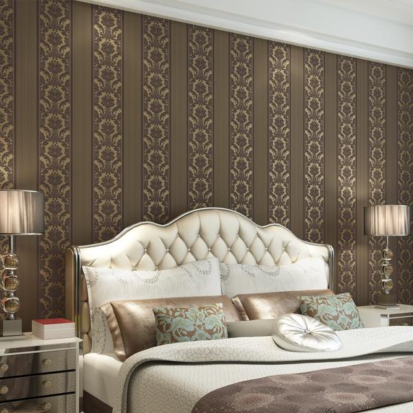 壁纸580—欧式墙纸卧室客厅电视背景墙竖条大马士革立...