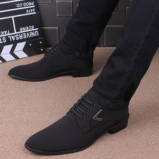 商务休闲男鞋 黑色布面鞋 潮流正装 春秋季 子男 英伦尖头皮鞋 男士 韩版