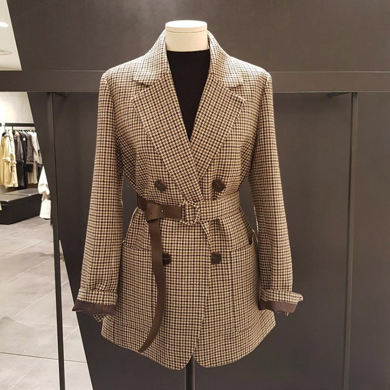 2019秋冬新款韩版时尚长袖格子毛呢小西装明星同款系带外套女上衣