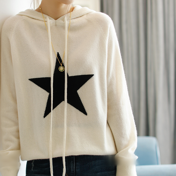 Autumn new casual sweater womens pure cashmere sweater five pointed star sweater loose sports hooded knitted bottom coat