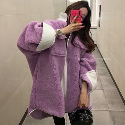 韩国秋冬新款宽松复古工装洋气撞色BF毛绒羊羔毛茸保暖外套女夹克
