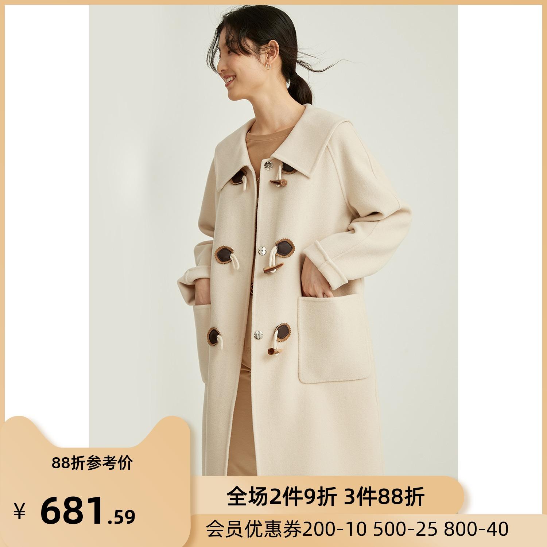 芭欧2021春季新款双面呢中长款牛角扣100羊毛大衣小个子毛呢外套