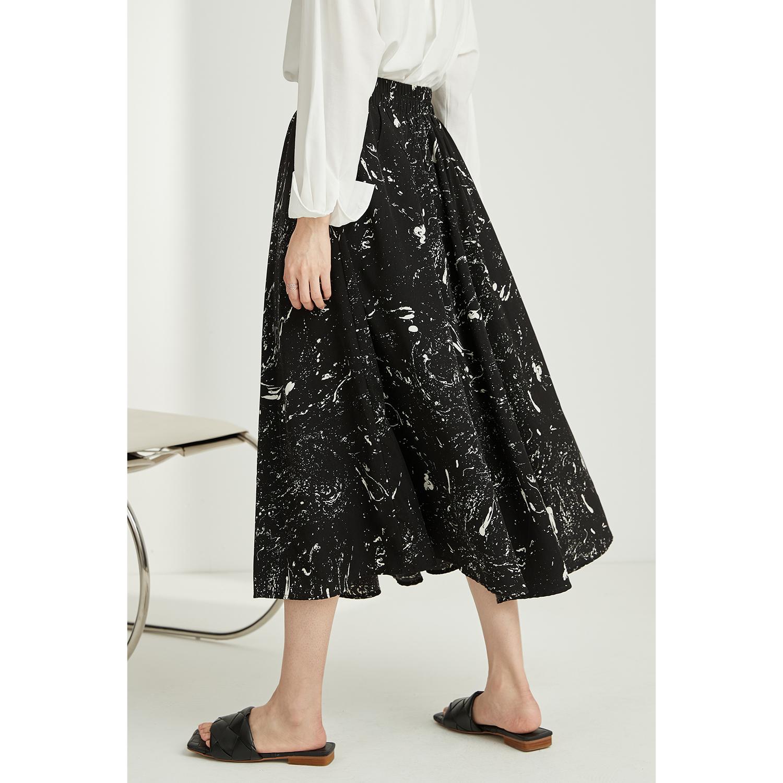 芭欧法式超高腰水墨半身裙女夏设计感碎花黑色百褶中长款A字伞裙