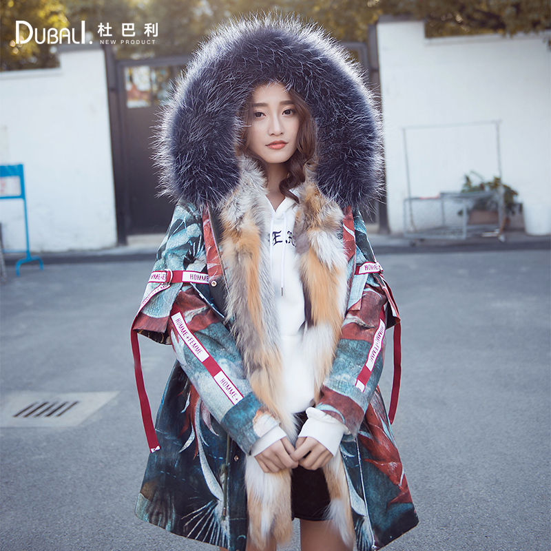 2020 new Fox feather collar down jacket mid long winter hooded overcoat for women
