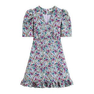 林珊珊sunny33小超人網紅同款浪漫紫色碎花連衣裙包臀短裙女裙子