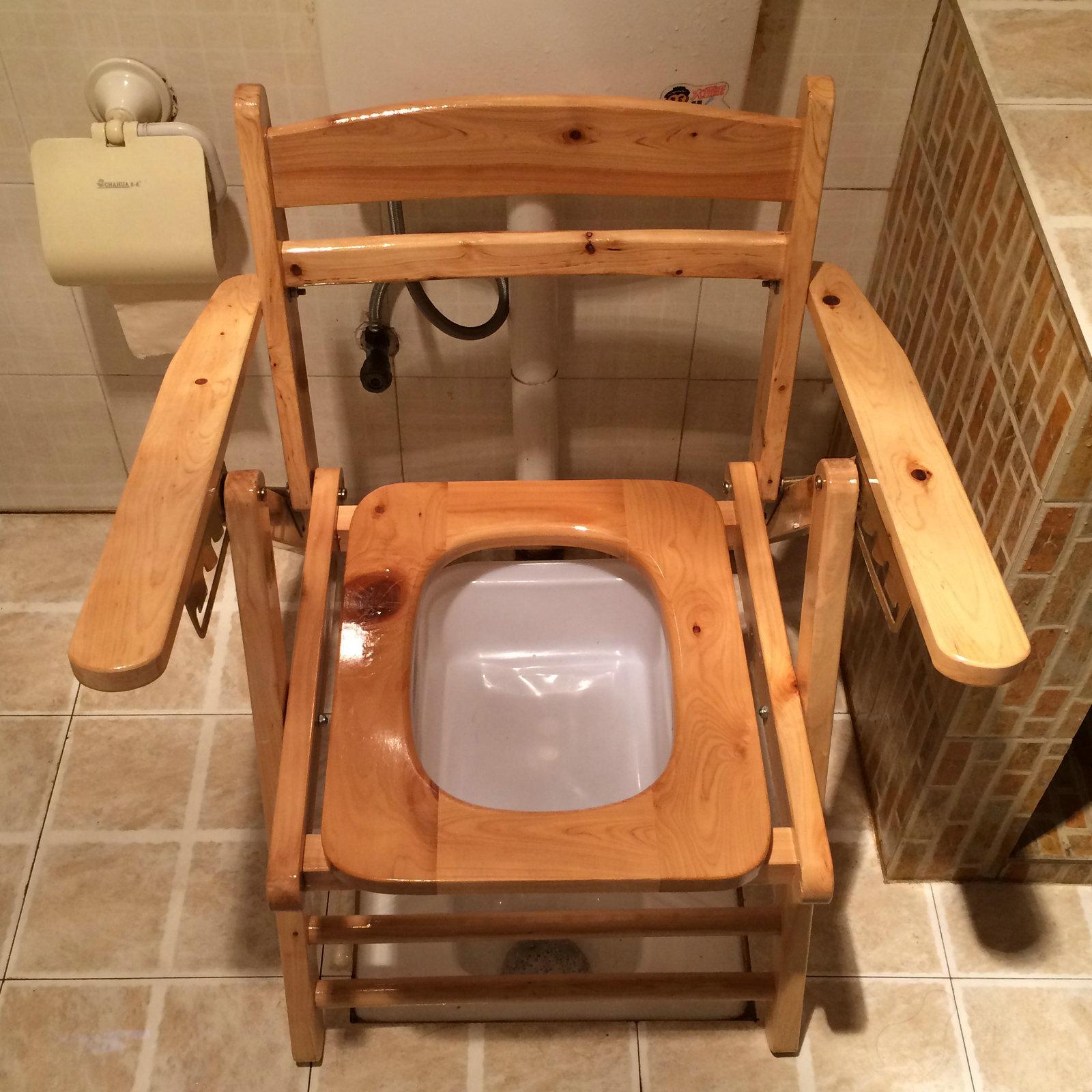 实木折叠扶手厕所椅老人坐便椅好不好用