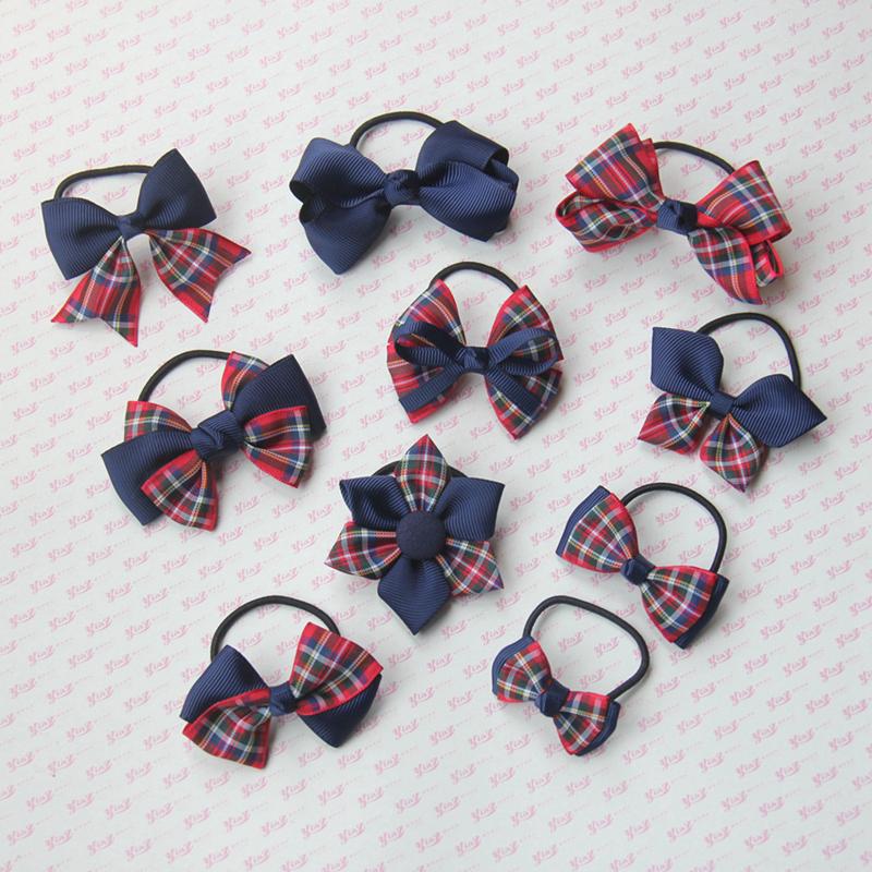 Yingzi Handmade NEW headwear student Tibetan blue with red plaid hair accessories hair circle hair rope hairpin
