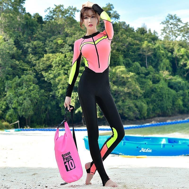 Корея молния длинный рукав солнцезащитный крем купальный костюм женщина мужчина все тело сиамский большой двор любители водонепроницаемый мать одежда дайвинг одежда поплавок скрытая одежда