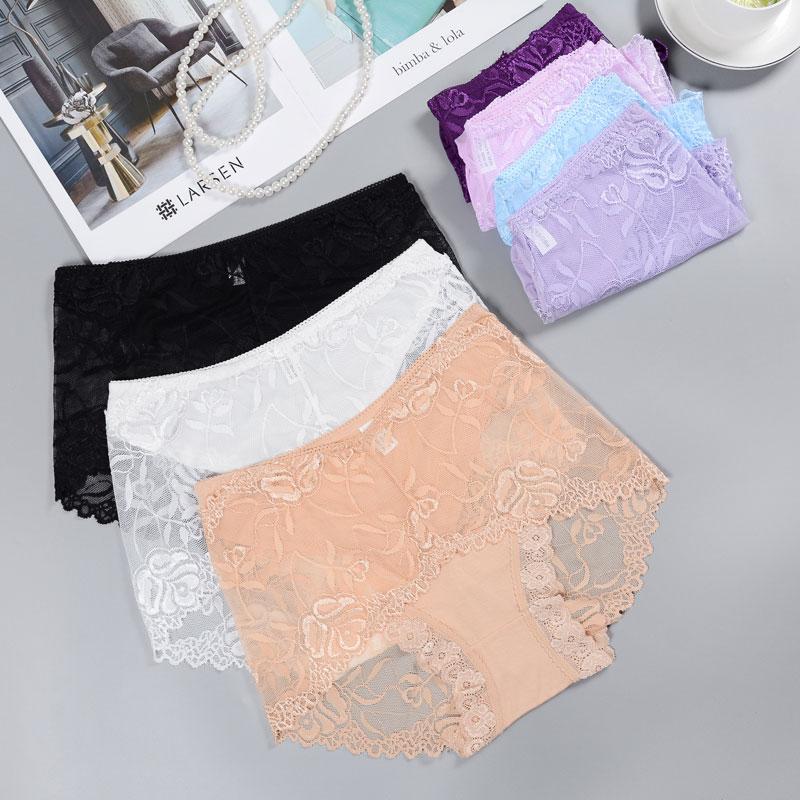 蕾丝性感网纱薄透视提臀大码三角裤(非品牌)