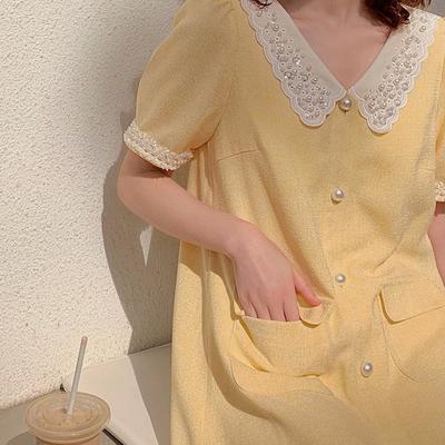 杨小卷 COCO小姐系列 优雅气质名媛风小连衣裙香黄色两件套套装夏