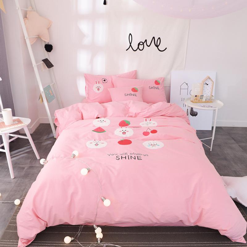 儿童床上四件套纯棉可妮兔卡通绣花全棉被套床单三件套1.2m床品夏