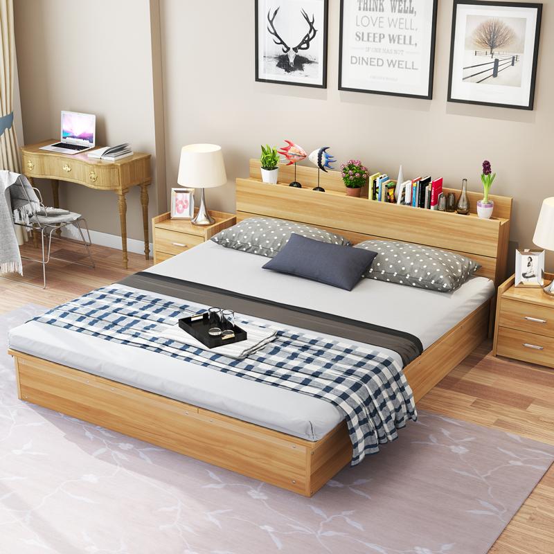 Современный пластина японский кровать 1.5 метр 1.8 метр татами кровать деревянные кровати двуспальная кровать кровать хранение кровать господь ложь