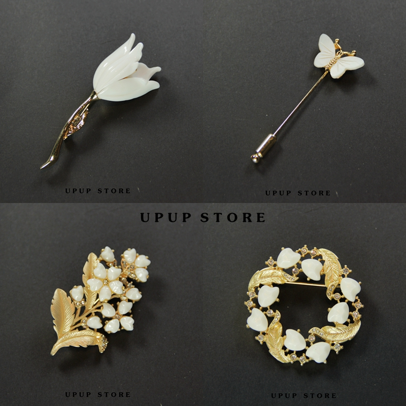 New elegant white tulip butterfly temperament simple Brooch coat shawl pin female