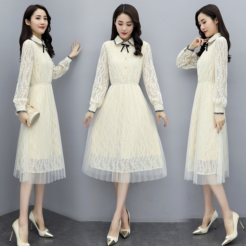New style temperament small Lapel long sleeve milky white lace skirt elastic waist dress one-piece dress jy09a05
