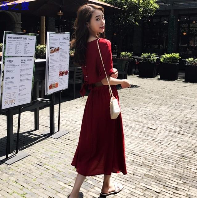 潮款后背镂空系带排扣酒红色连衣裙圆领五分袖中长连身裙BY08027