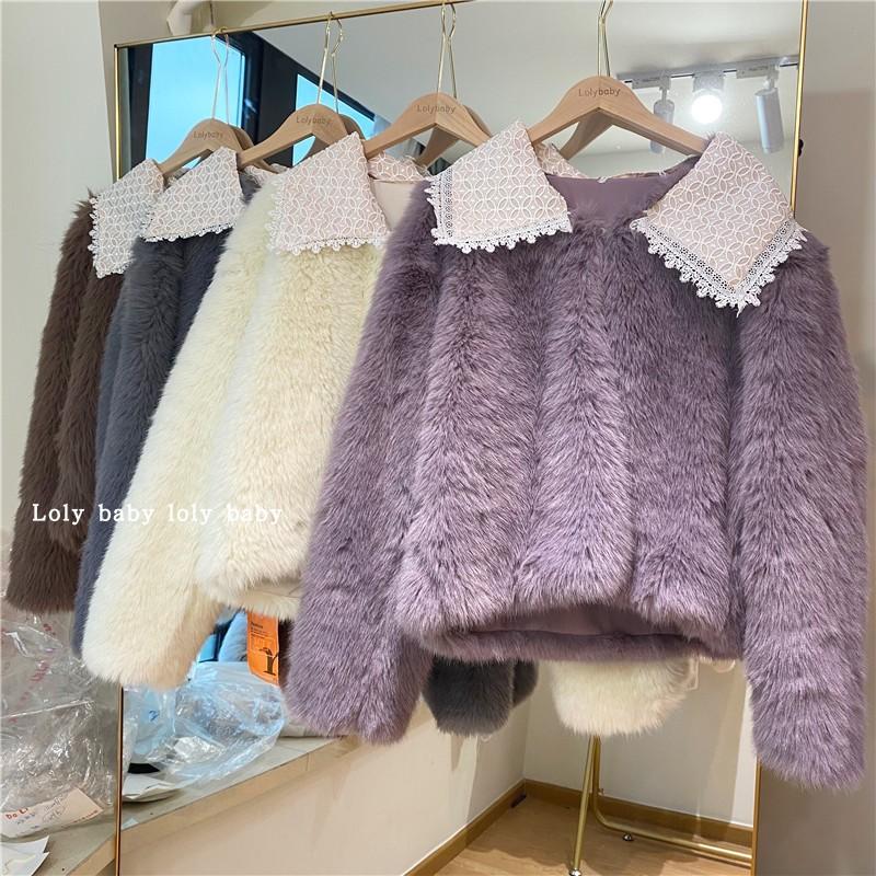进口整皮狐狸毛蕾丝领皮草外套女短款2020新款托卡水貂长袖大衣冬