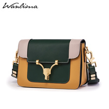 Wanlima 2019 New Retro Small Square Baonu Slant Broad Shoulder Belt Occidental Colour Women's Lock Box Bag
