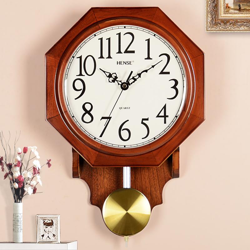 汉时八卦挂钟创意中国风水时钟客厅镇宅摆钟北欧田园个性挂表HP17