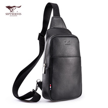 Seven wolves chest bag men's leather suede leather men's shoulder bag Messenger bag fashion youth tide men's bag outdoor
