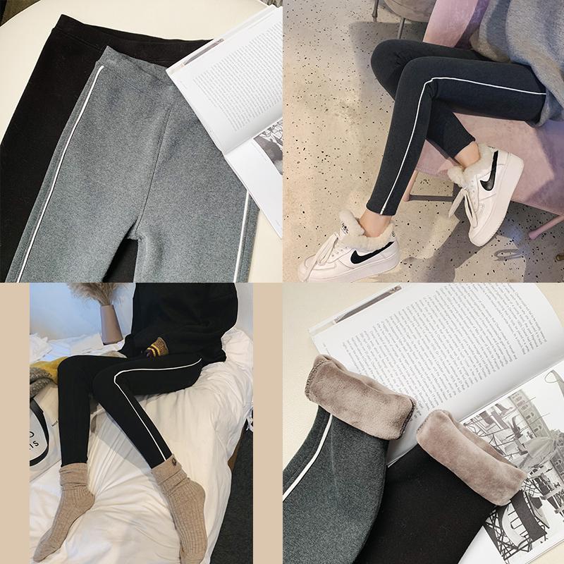 梦梦家女装冬季2018新款韩版休闲简约修身运动款打底裤加绒长裤子