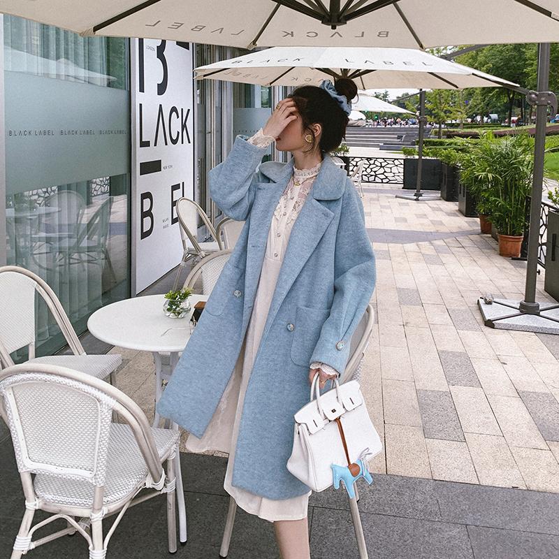 秋冬季2020款赫本风茧型垂感毛呢大衣女中长款气质西装领呢子外套