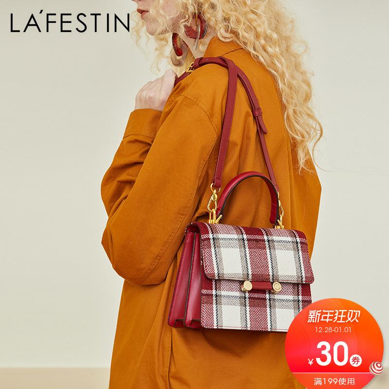 拉菲斯汀时尚格子女包2018新款手提包千鸟格休闲斜挎包单肩凯莉包