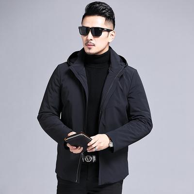 羽绒服男中长款2019冬季加厚新款连帽外套DYR9069P360 控价460