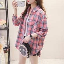 韩版宽松2021春秋装新款学院风外穿衬衣外套学生格子衬衫女长袖