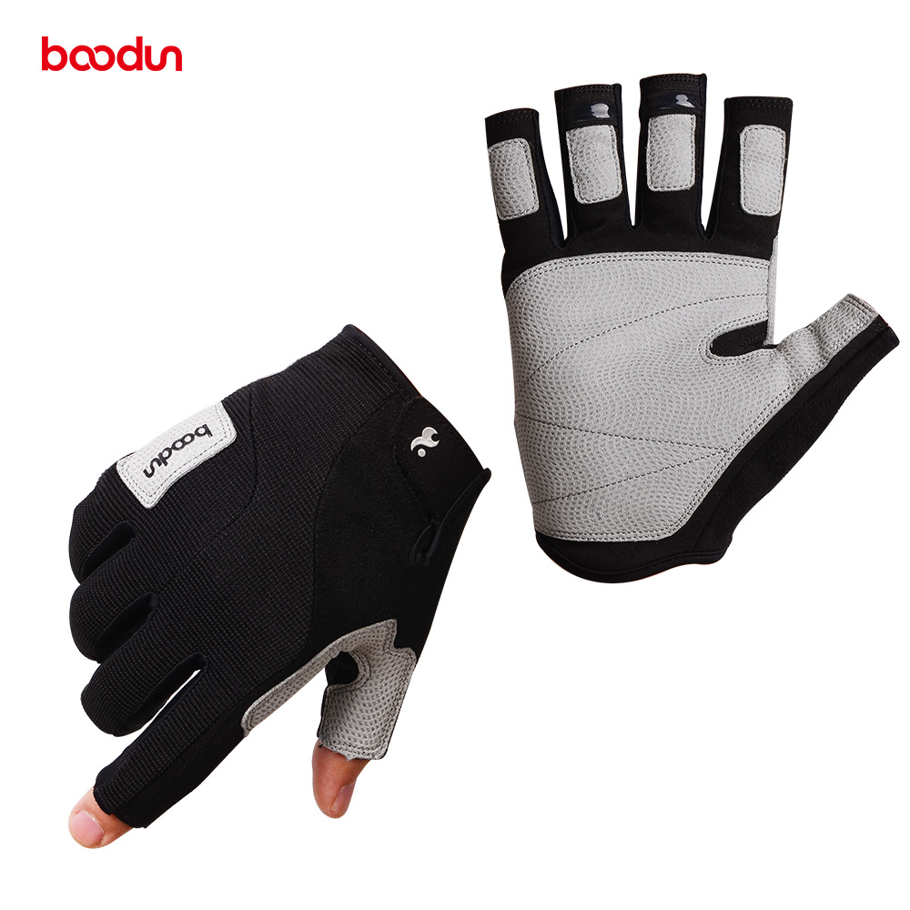 Sailing rock climbing gloves boodun outdoor sports protective gear fitness Half Finger suede anti slip wear protection