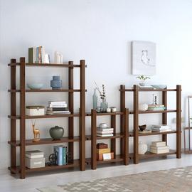 茗馨实木书架书柜组合落地置物架简易现代简约货架展示柜收纳柜