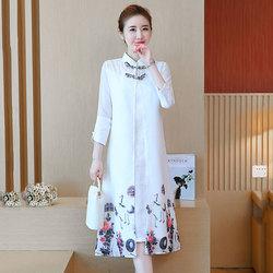 2020春夏款中国风复古印花改良旗袍裙女立领盘扣提花假两件连衣裙