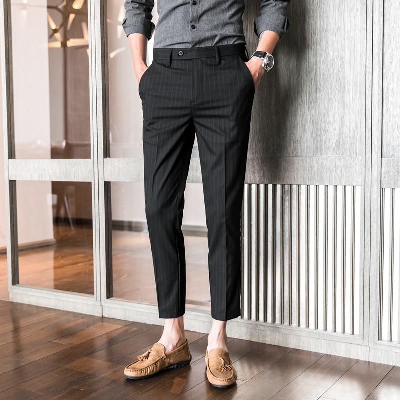 男裤子商务修身小脚九分七分八分7分9分裤竖条纹高端男士休闲西裤