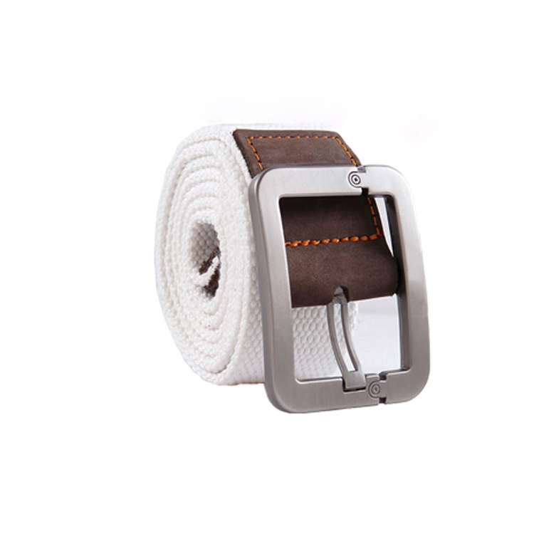 White pin buckle canvas belt mens casual belt young student fashion mens outdoor Jeans Belt