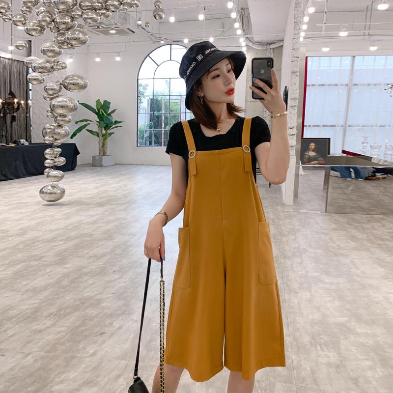 2019夏季新款宽松直筒背带裤女七分显瘦两件套装五分阔腿连体裤子