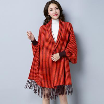 2017冬季新款女式针织开衫披肩潮流休闲格子蝙蝠衫女YXY193F90