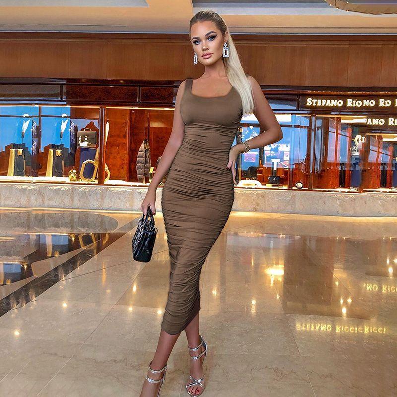 欧美ins 夏季新款时尚褶皱纯色无袖连衣裙女性感修身百搭包臀长