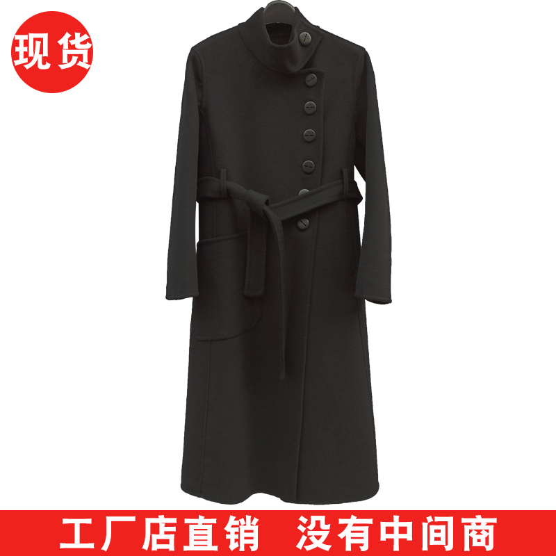 Cashmere coat womens long stand collar double faced wool coat over knee loose thin spring black coat