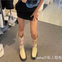 查看泫雅同款欧美刺绣套筒牛仔靴中筒V口复古骑士不过膝西部靴女长靴价格