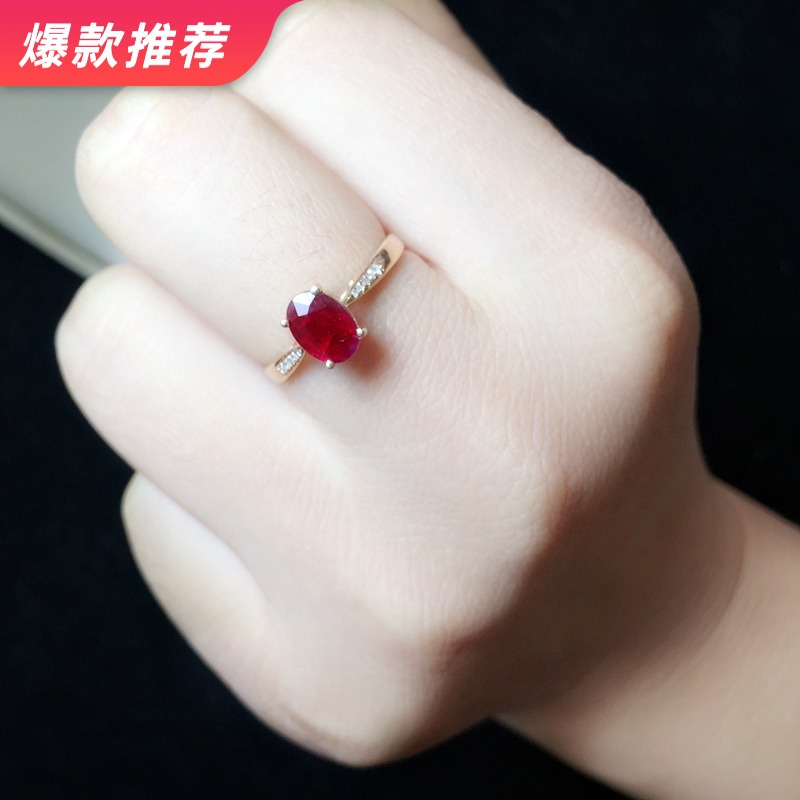 18K Rose Gold Ruby Ring female Mozambican pigeon blood ruby with diamond certificate