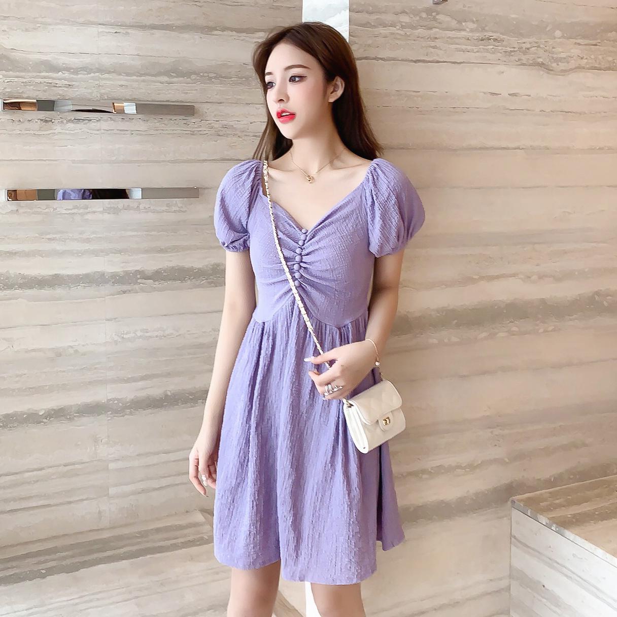 实拍2020夏装韩版收腰显瘦法式少女泡泡袖短袖连衣裙桔梗裙