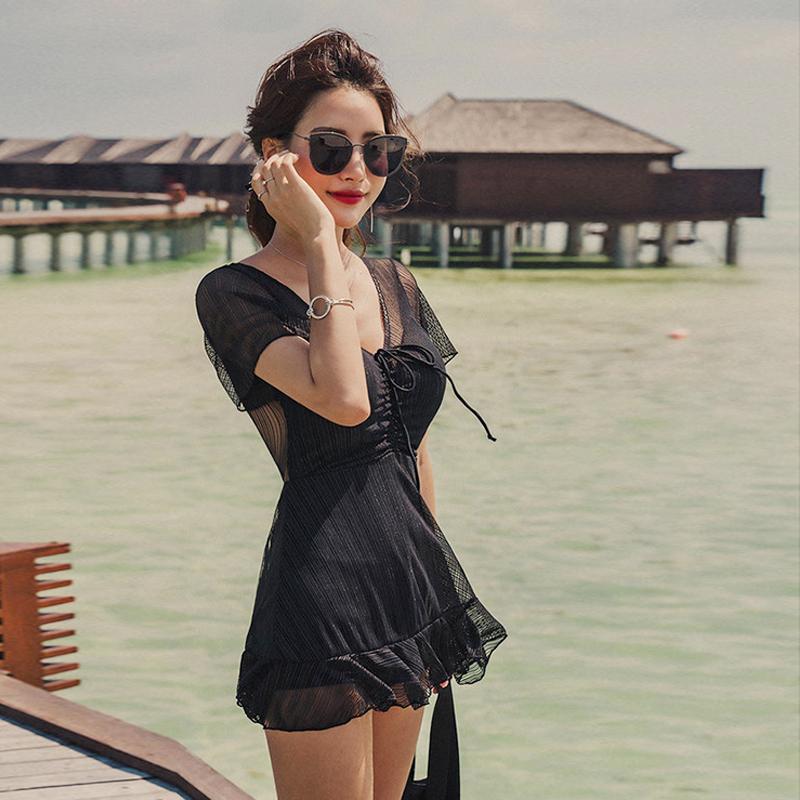 韩国东大门女神泳衣女ins风性感连体裙显瘦遮肚保守温泉沙滩泳装11-30新券