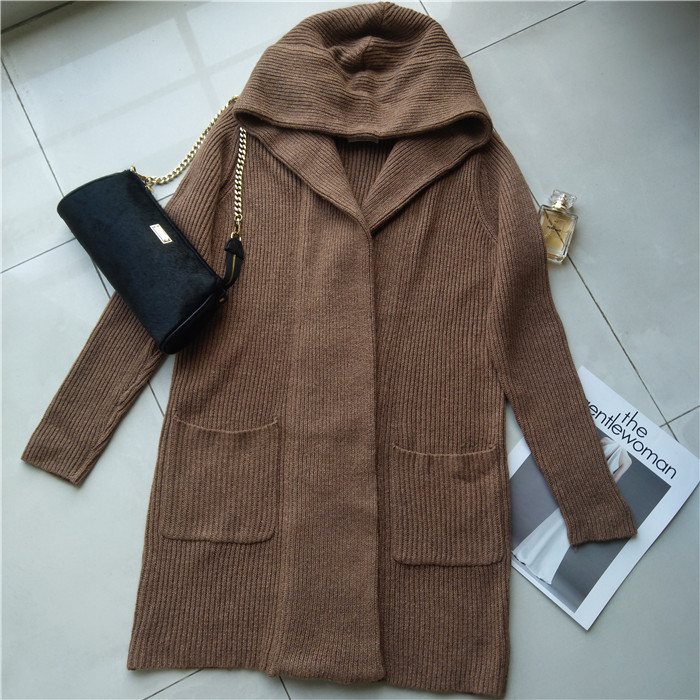 Cardigan autumn and winter womens Korea this solid color versatile simple hooded pocket casual medium length thickened knitted coat