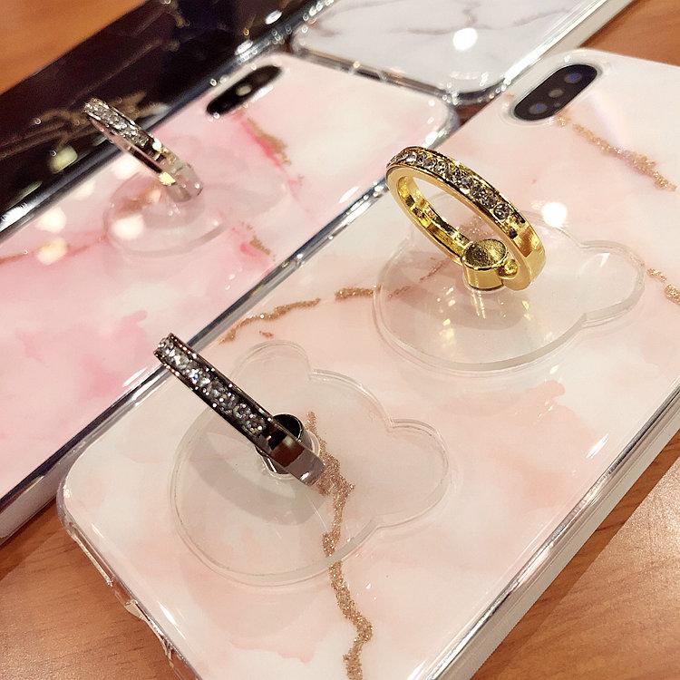 Простой прилив бренд медвежата металл кольцо пряжка прозрачный подставка для мобильного телефона общий ленивый палка женщина яблоко