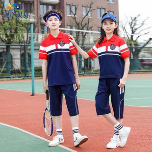 短袖 运动校服套装 男女童半袖 POLO衫 青少年夏季 高中学生班服七分裤