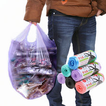 Hand-held household sorted garbage bags thickened large kitchen disposable garbage bags vest-style black plastic bags