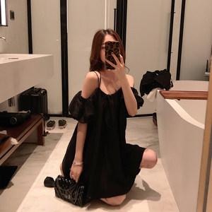 阿姐家夏装新款性感小心机露肩吊带黑色连衣裙女法国小众桔梗裙子